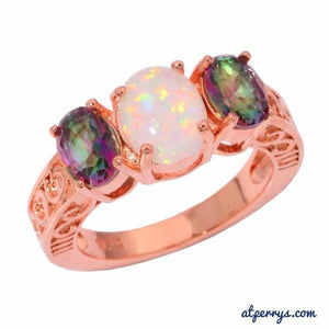 White Fire Opal Mystic Topaz Gold Ring - AtPerry's Healing Crystals™