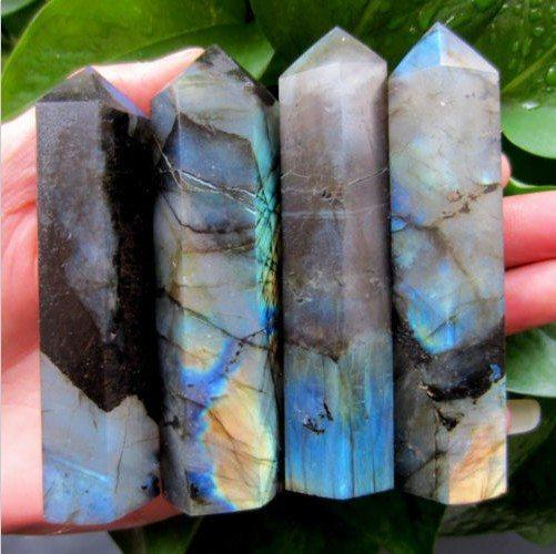 4 Natural Labradorite Wands   11oz each   AtPerrys Healing Crystals   1