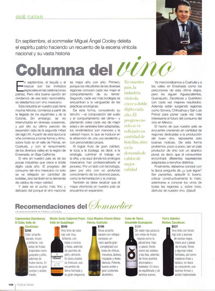 Revista Food and Travel, México Vinos El CIELO