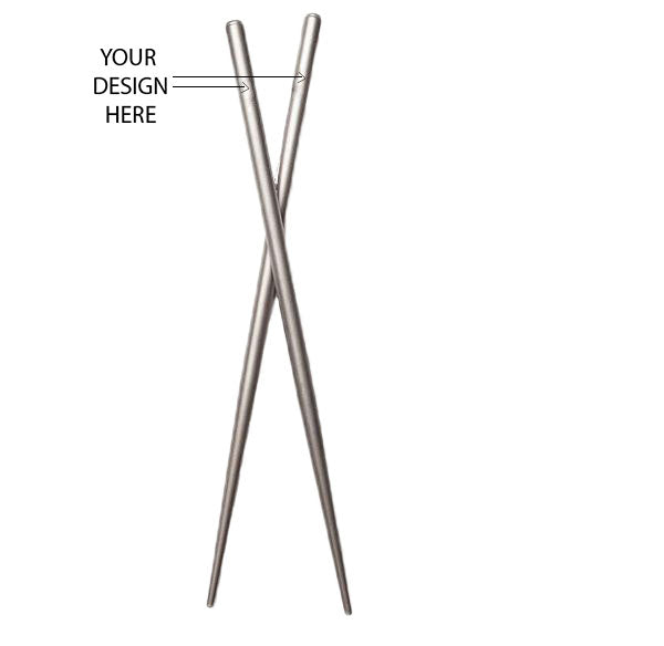 Round Titanium Chopsticks and Free Laser Engraving CS011