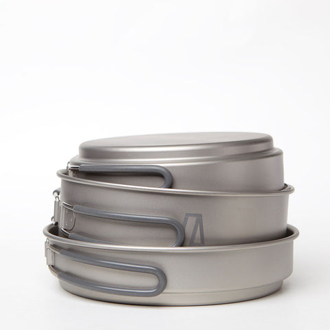 Three Piece Portable Titanium Pan Set 400ml, 800ml and 1200 ml CP810