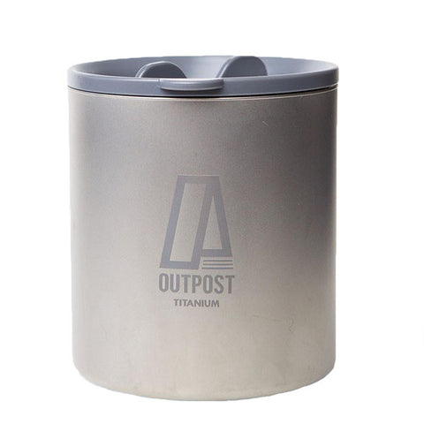 Capacious Double Wall Titanium Mug with Plastic Lid and Free Laser Engraving DC060