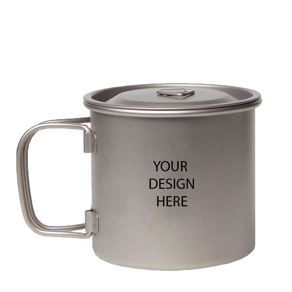 Eco Single Wall Mug with Foldable Handle and Titanium Lid MH035