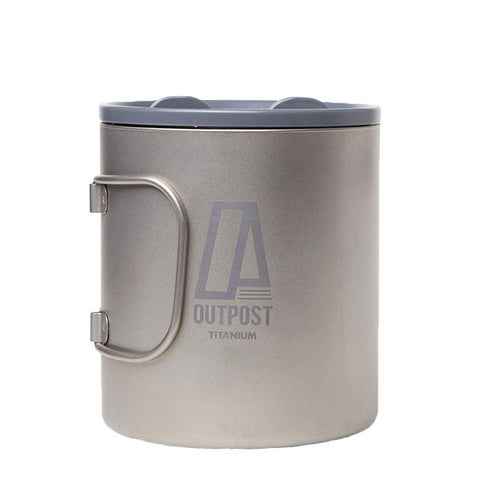 20 oz. Double Wall Titanium Mug with Foldable Handles and Plastic Lid MH160