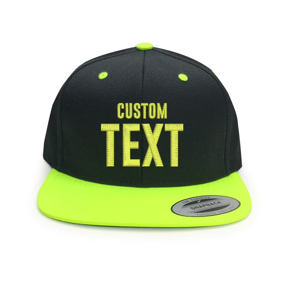 551a87974dd Customize a Hat Black Neon Yellow Snapback Hat