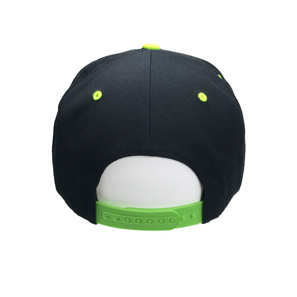 Classic Yupoong Black Neon Yellow Snapback Hat