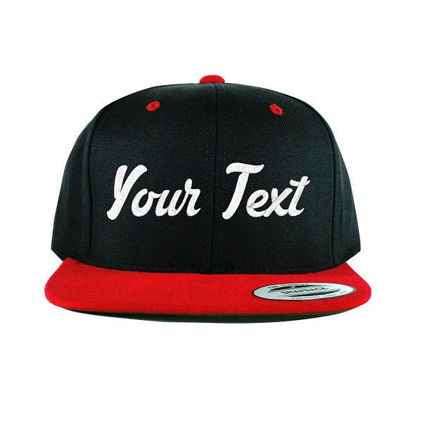 Flat Bill Black/Red Snapback Cap