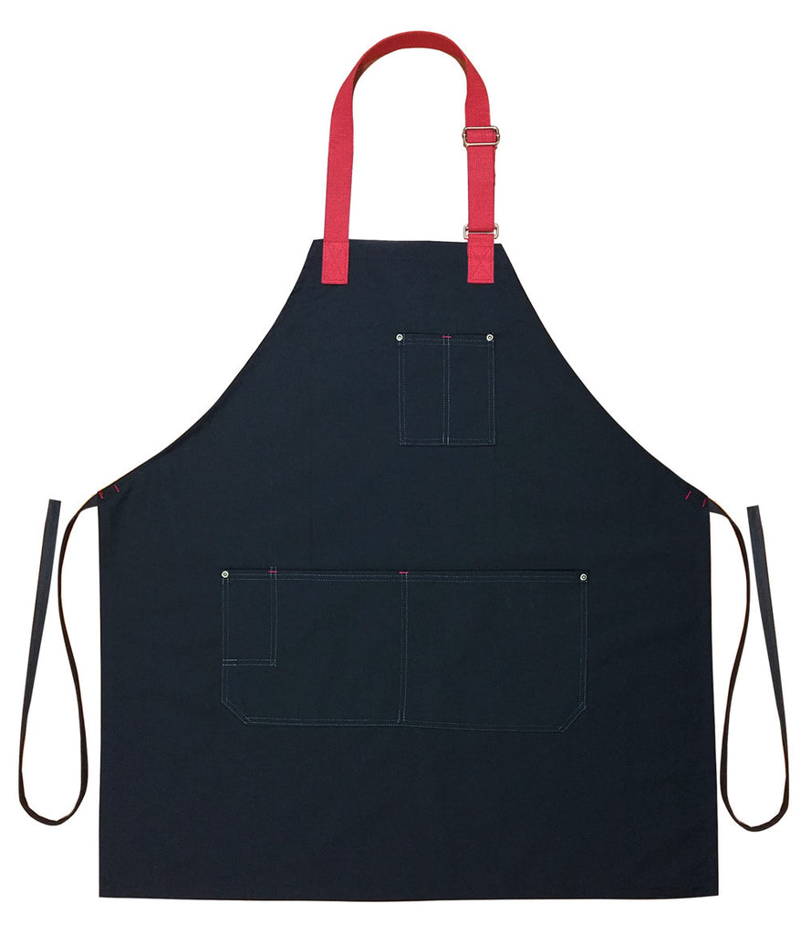 Arcadian Bib Chef Apron Black/Red