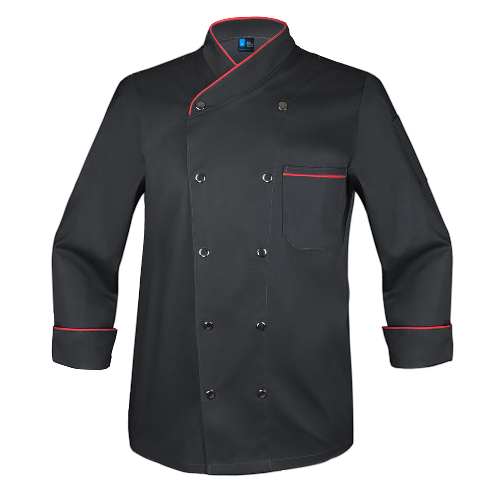 Snap Black Chef Coat with Red Piping