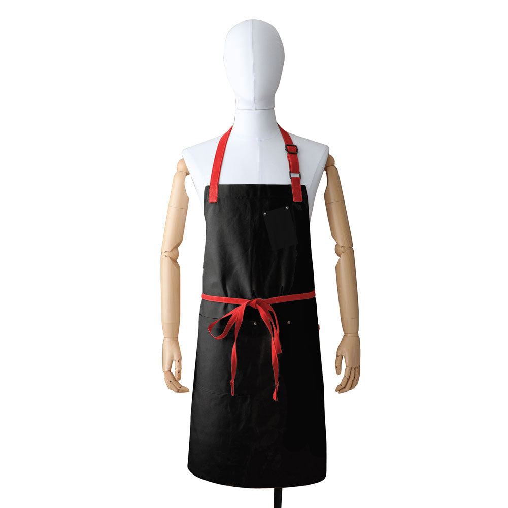 Mahogany Canvas Bib Apron (Black/Red)