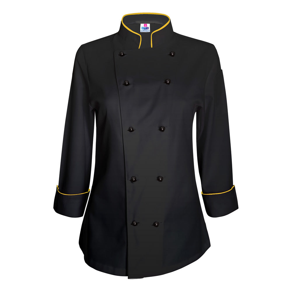 10oz apparel women u0026 39 s black chef jacket with gold piping