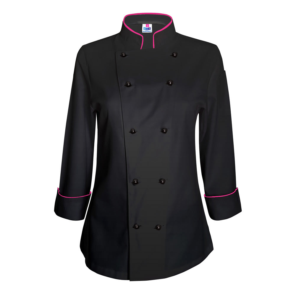 Women's Black Chef Coat - Hot Pink piping