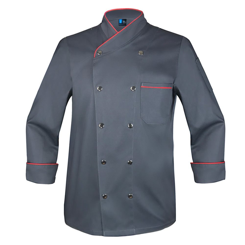 Snap Charcoal Chef Coat with Red Piping