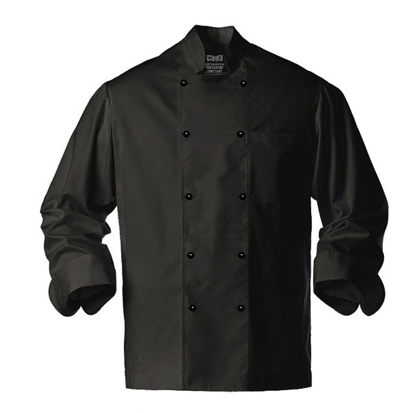 Classic Black Chef Coat - Stud Buttons