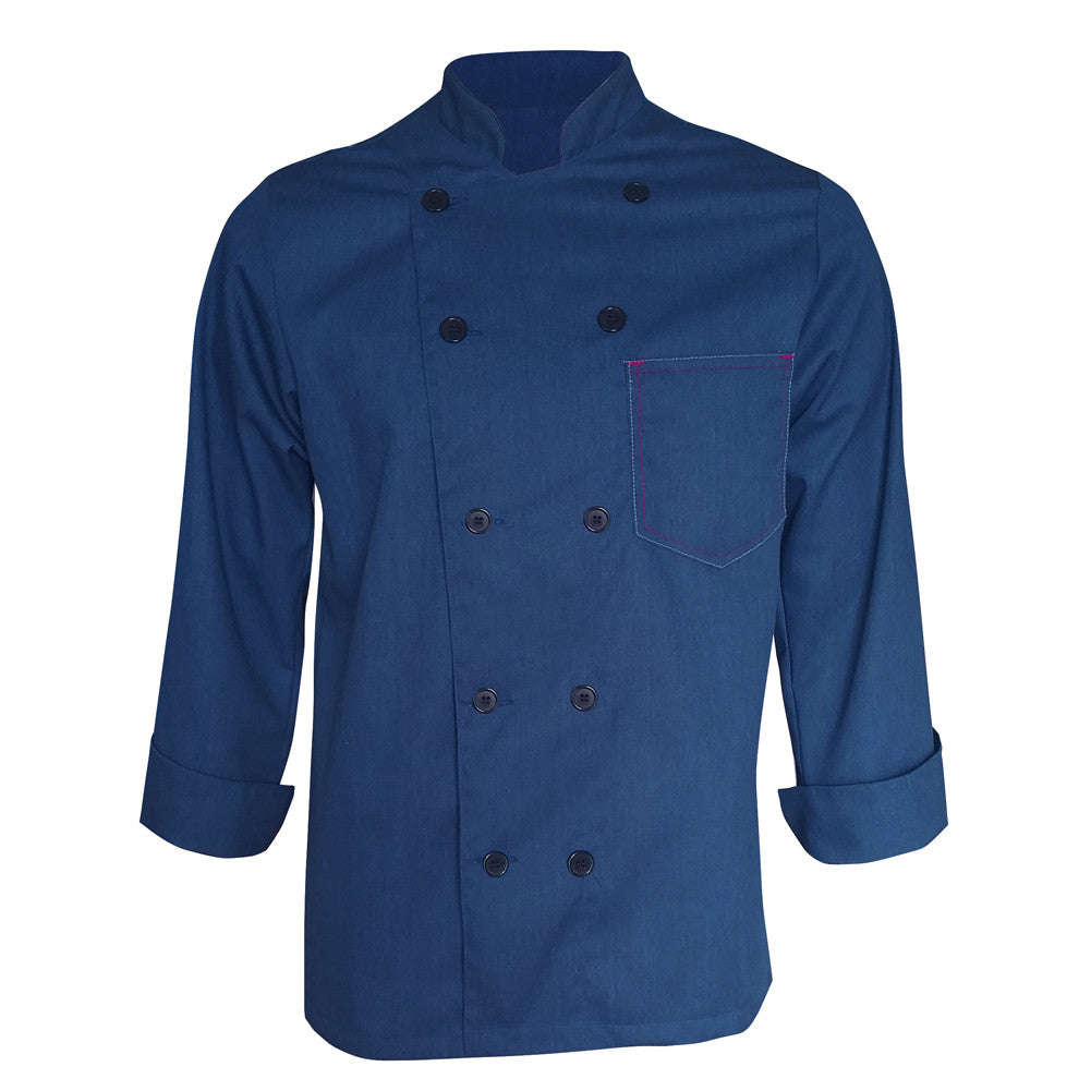Heather Blue Contrast chef coat