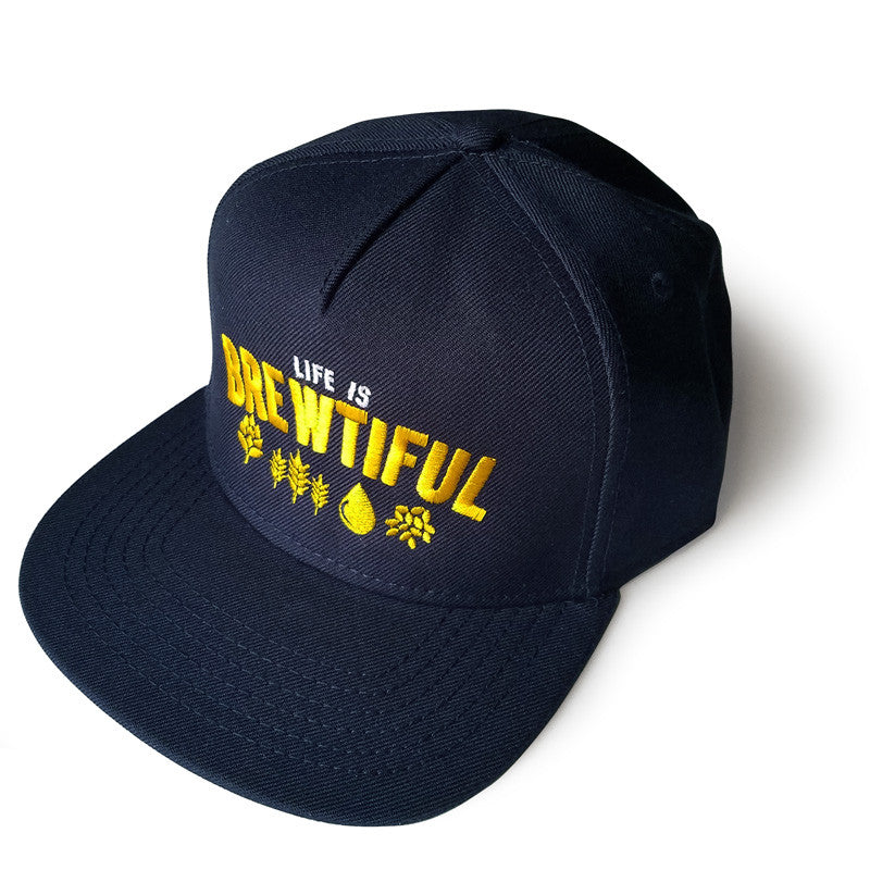 Life is Brewtiful Navy Flat Bill Snapback Hat