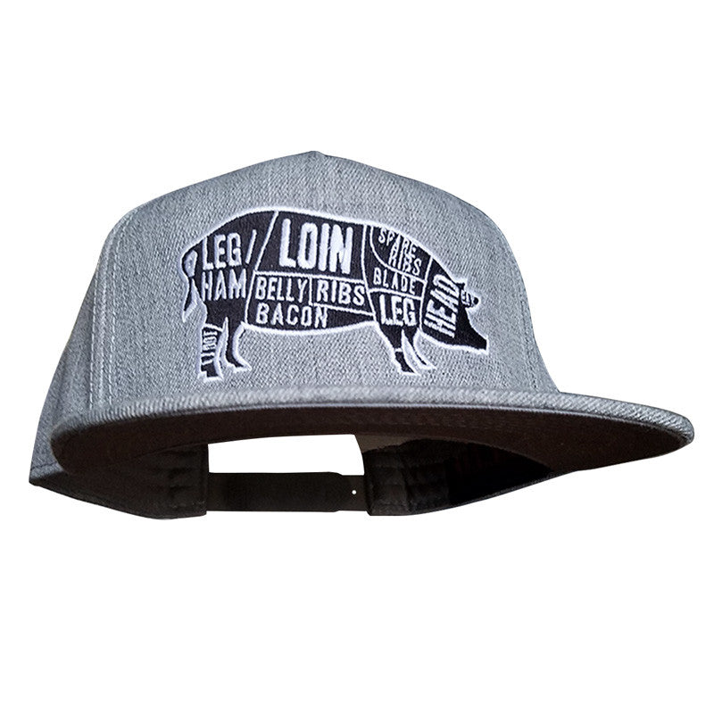 Pork Cuts Heather Grey Flat Bill Snapback Hat