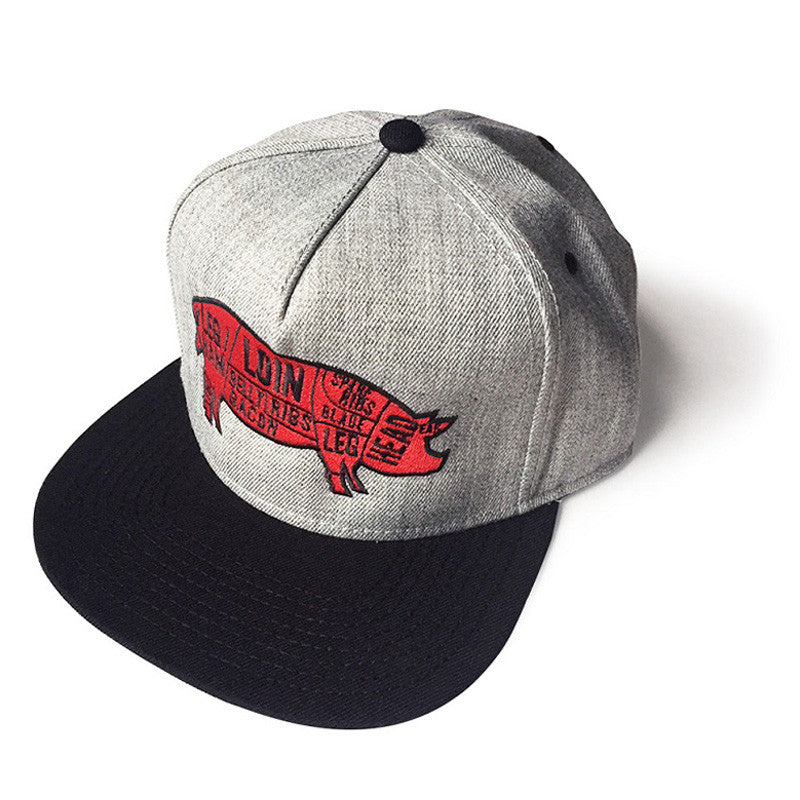 Pork Cuts Heather Grey/Black Flat Bill Snapback Hat
