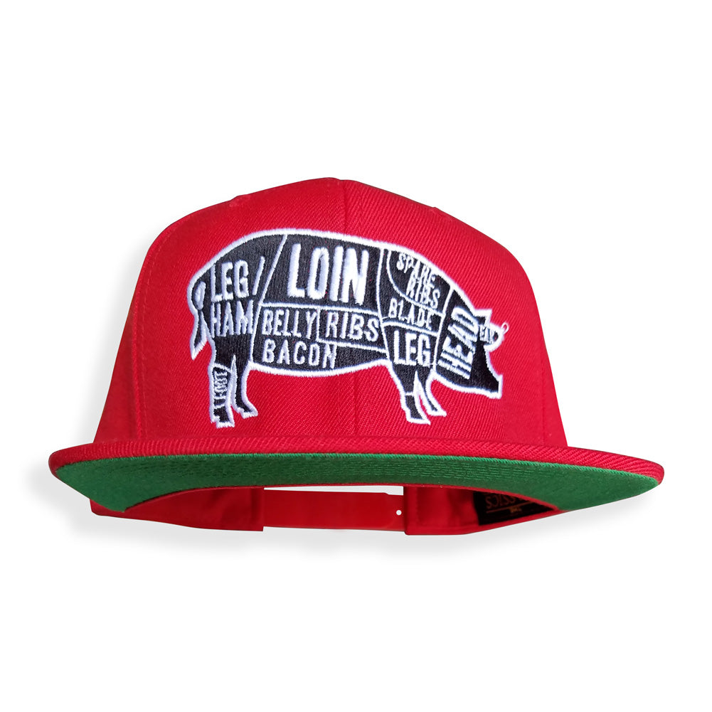 Pork Cuts Red Flat Bill Snapback Hat