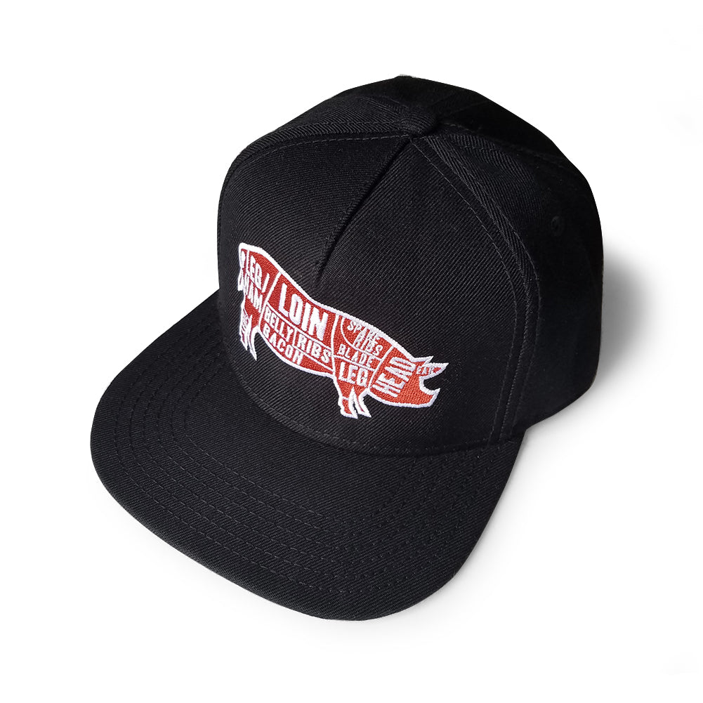 Pork Cuts Heather Black Flat Bill Snapback Hat