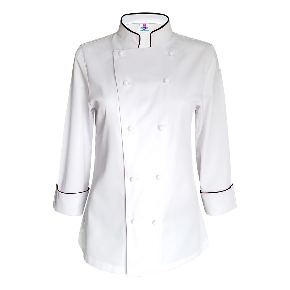 Women White Chef Coat - Black piping