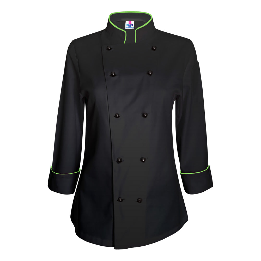 Women's Black Chef Coat - Lime Green piping