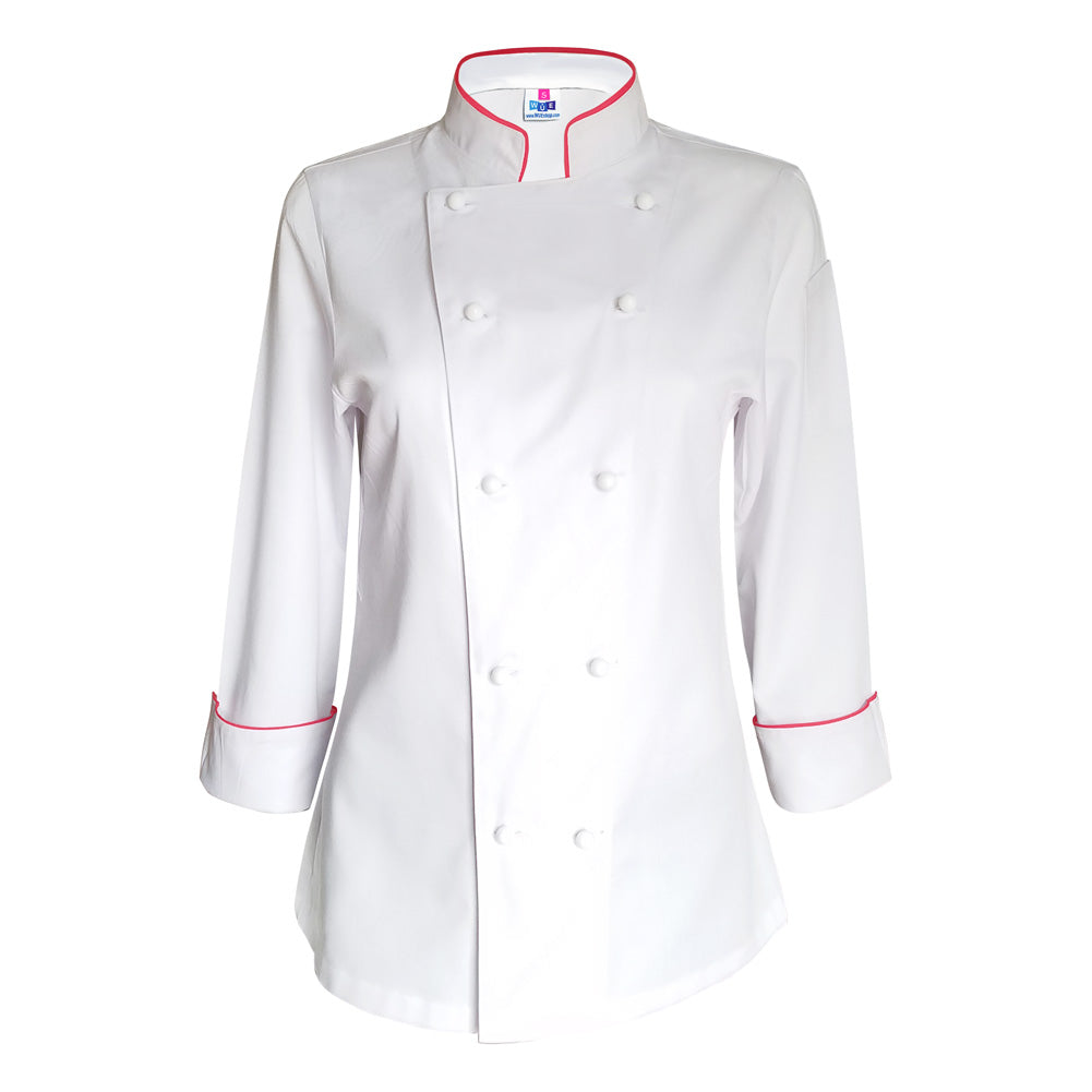 Women's White Chef Coat with Red Piping