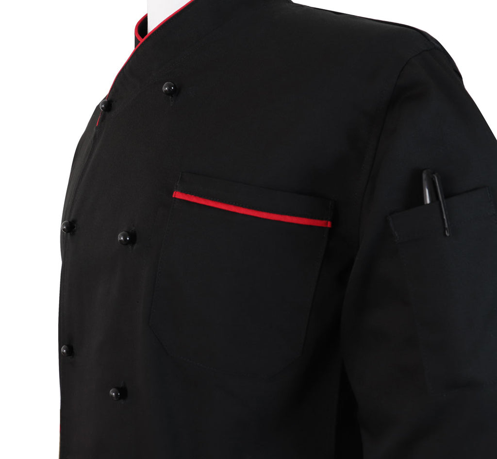 New Style Black Chef Coat Contrast Red Piping