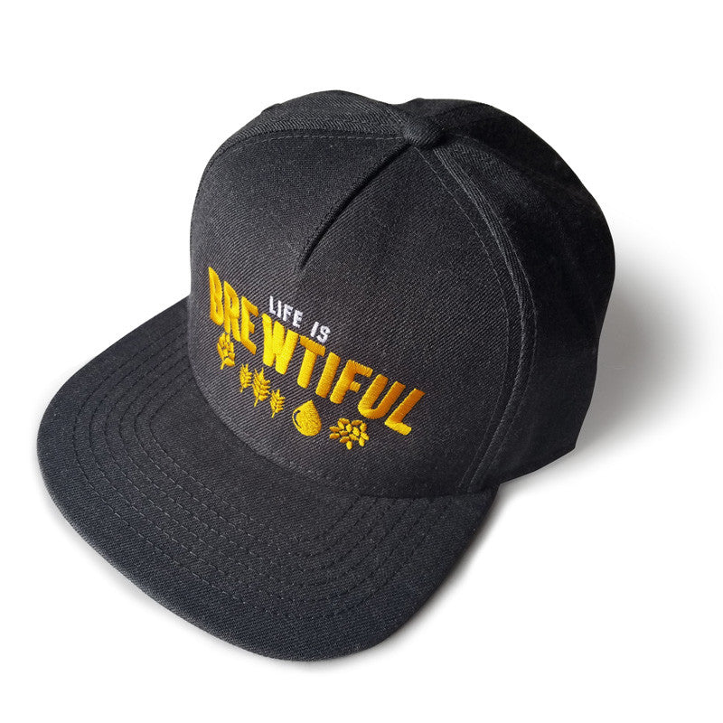Life is Brewtiful Dark Heather Flat Bill Snapback Hat