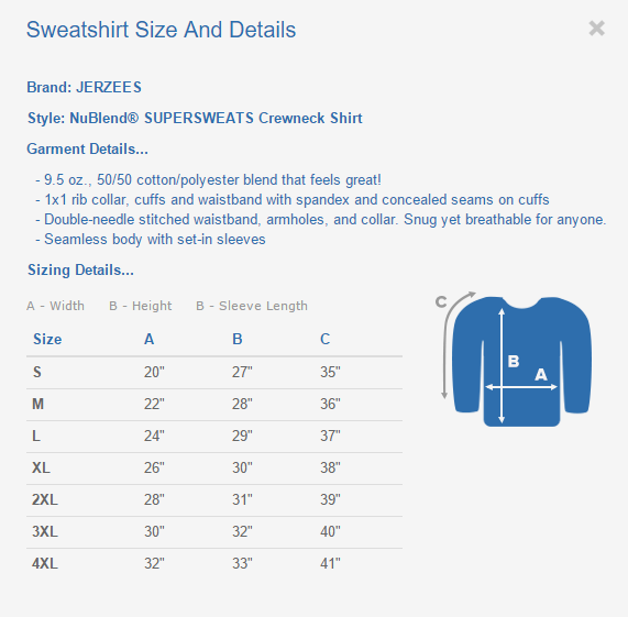 Sweatshirt Sizing Chart And Details