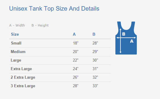 Unisex Tank Top Sizing Chart And Details
