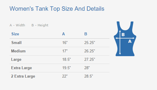 Women's Tank Top Sizing Chart And Details