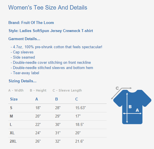 Women's Tee Sizing Chart And Details