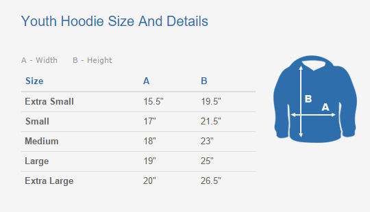Youth  Hoodie Sizing Chart And Details