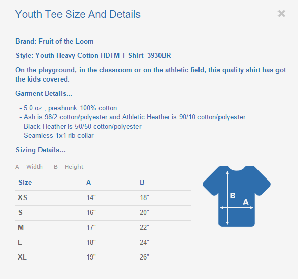 Youth Tee Sizing Chart And Details