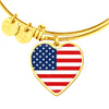 American Flag - 18k Gold Finished Heart Pendant Bangle Bracelet