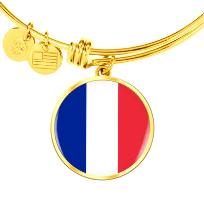 French Flag - 18k Gold Finished Bangle Bracelet