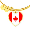Canadian Flag - 18k Gold Finished Heart Pendant Bangle Bracelet