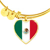 Mexican Flag - 18k Gold Finished Heart Pendant Bangle Bracelet