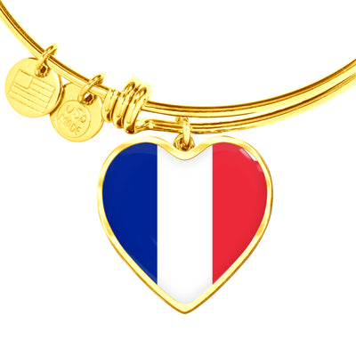 French Flag - 18k Gold Finished Heart Pendant Bangle Bracelet