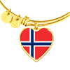 Norwegian Flag - 18k Gold Finished Heart Pendant Bangle Bracelet