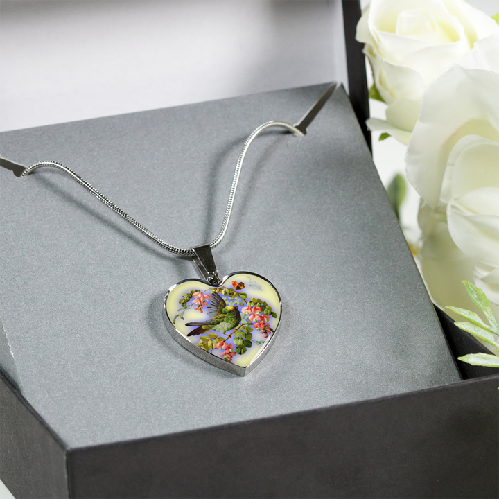 Bird And Flowers - Heart Pendant Luxury Necklace