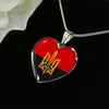 Stylized Tryzub And Red-Black Flag - Heart Pendant Luxury Necklace