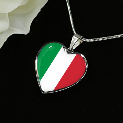 Italian Flag - Heart Pendant Luxury Necklace