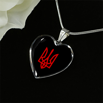 Tryzub (Red) - Heart Pendant Luxury Necklace