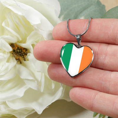 Irish Flag - Heart Pendant Luxury Necklace