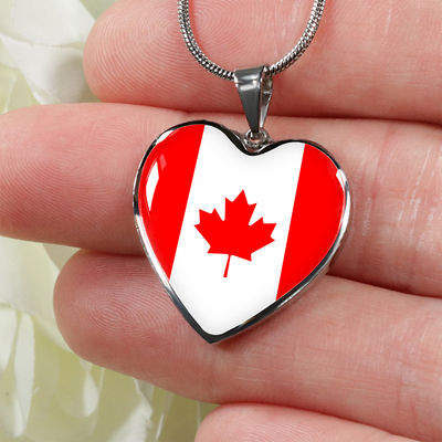 Canadian Flag - Heart Pendant Luxury Necklace