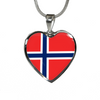 Norwegian Flag - Heart Pendant Luxury Necklace