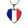 French Flag - Heart Pendant Luxury Necklace
