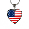 American Flag - Heart Pendant Luxury Necklace